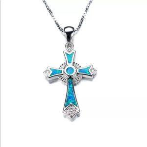 Cross necklace silver chain blue opal
